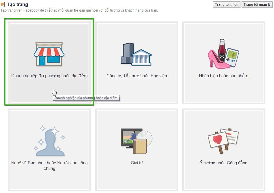 Giao diện tạo trang FanPage trước tháng 8-2018