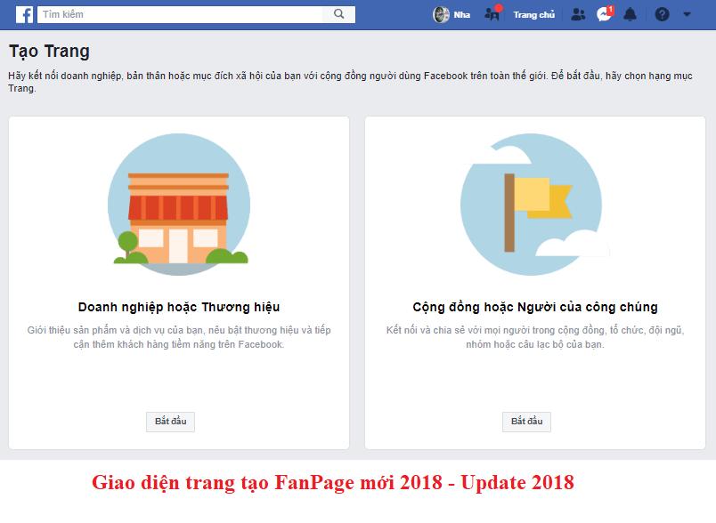 Giao diện tạo trang FanPage sau tháng 8-2018