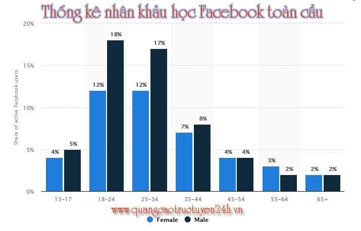 Thống kê nhân khảu học Facebook toàn cầu