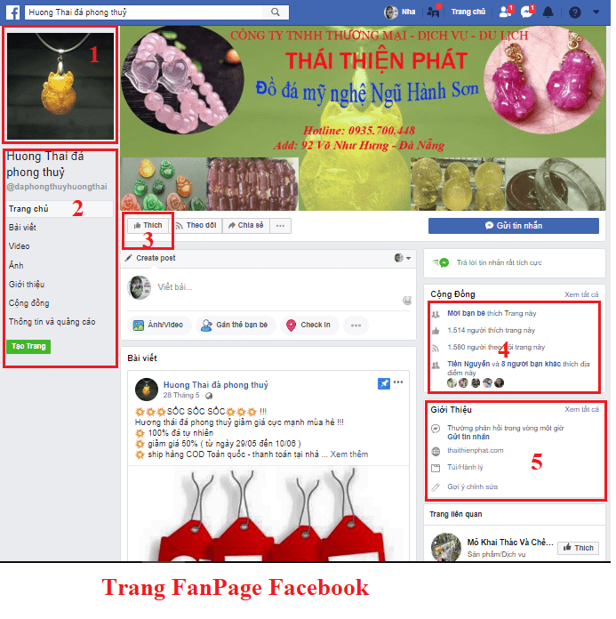 Hình 2: Trang FanPage Facekook