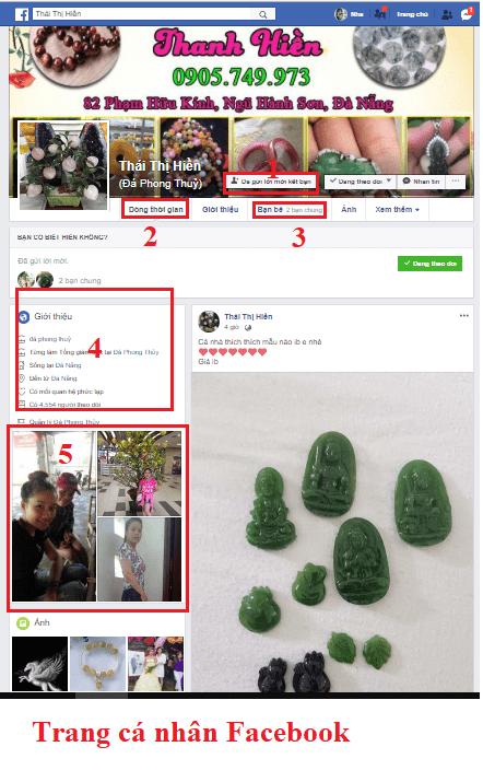 Hình 1: Trang Facebook cá nhân