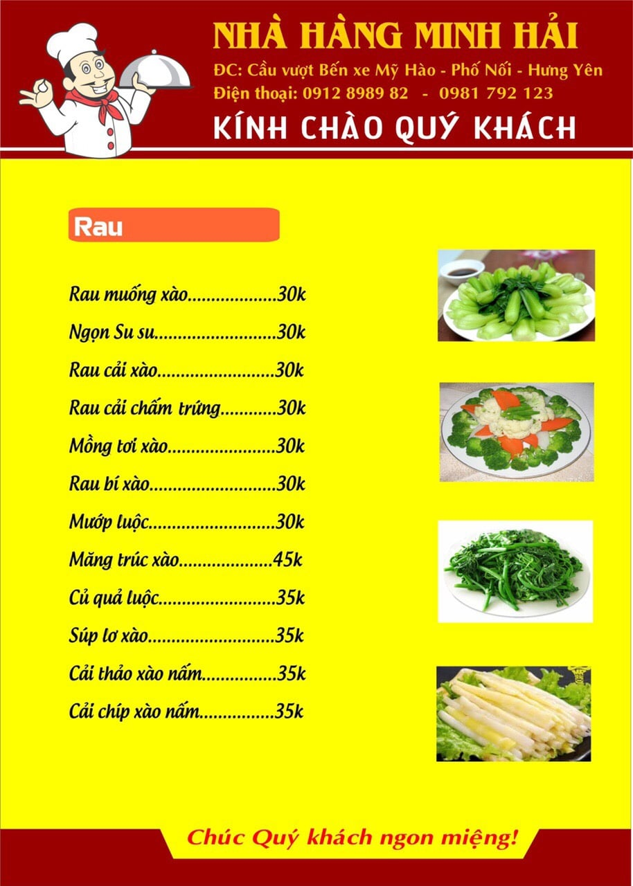 Thực đơn tại nhà hàng Minh Hải