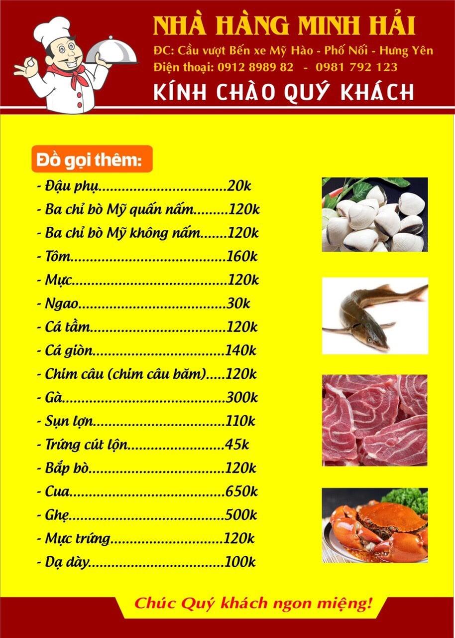 Thực đơn tại nhà hàng Minh Hải - 02