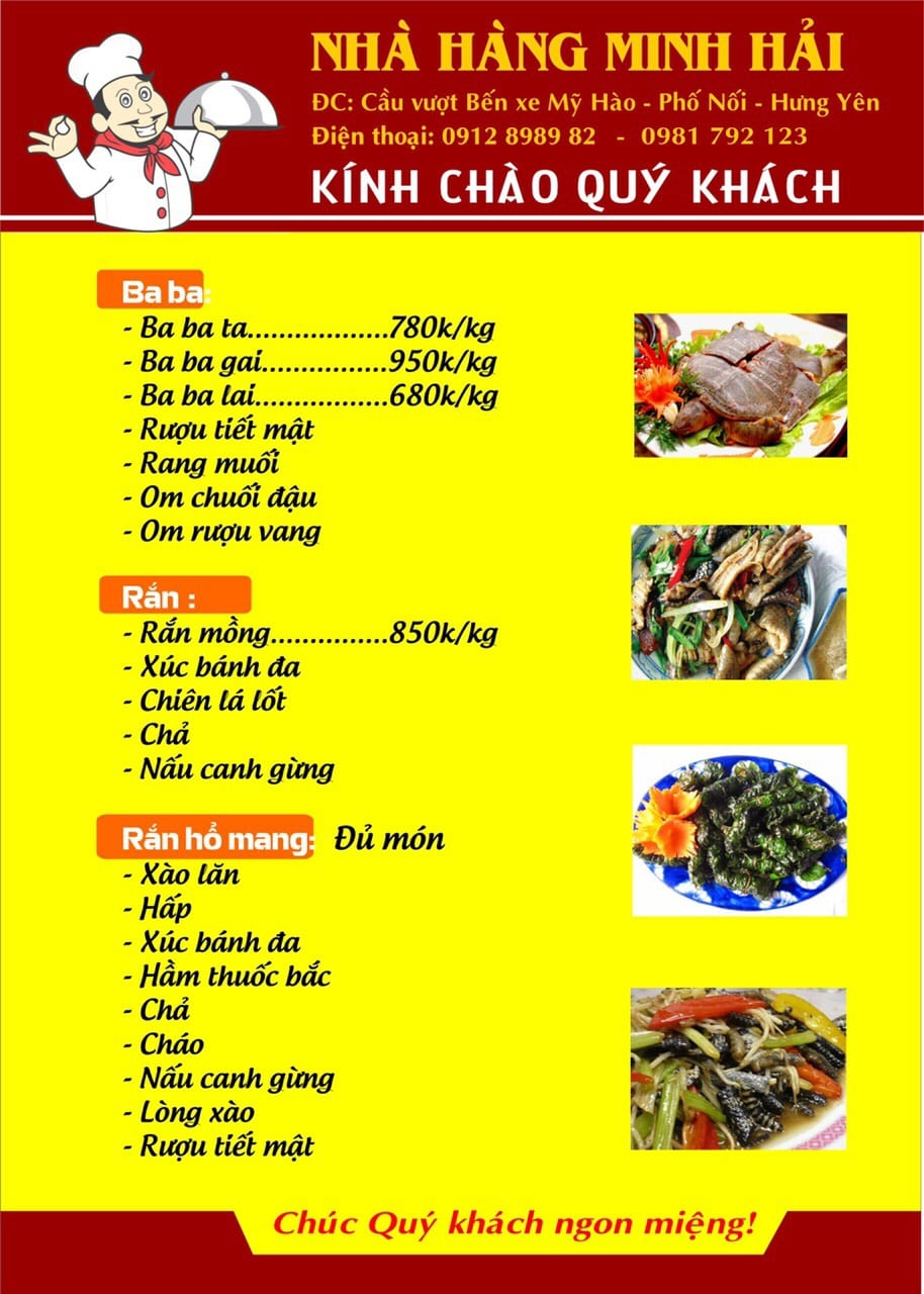 Thực đơn tại nhà hàng Minh Hải - 05