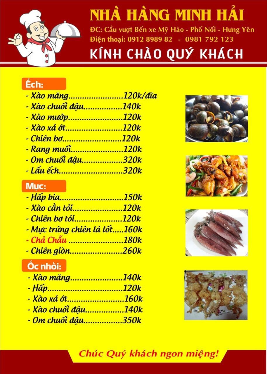 Thực đơn tại nhà hàng Minh Hải - 06
