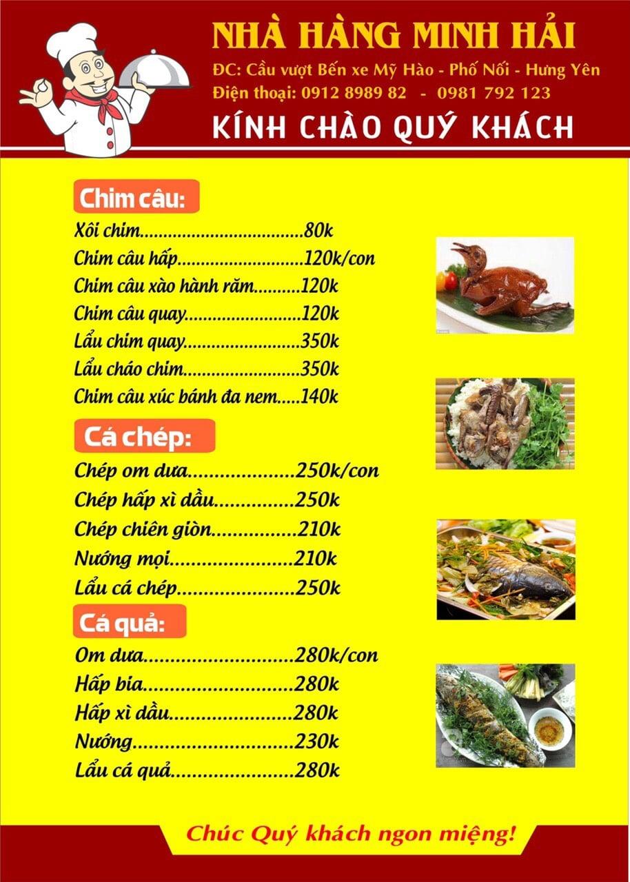 Thực đơn tại nhà hàng Minh Hải - 08