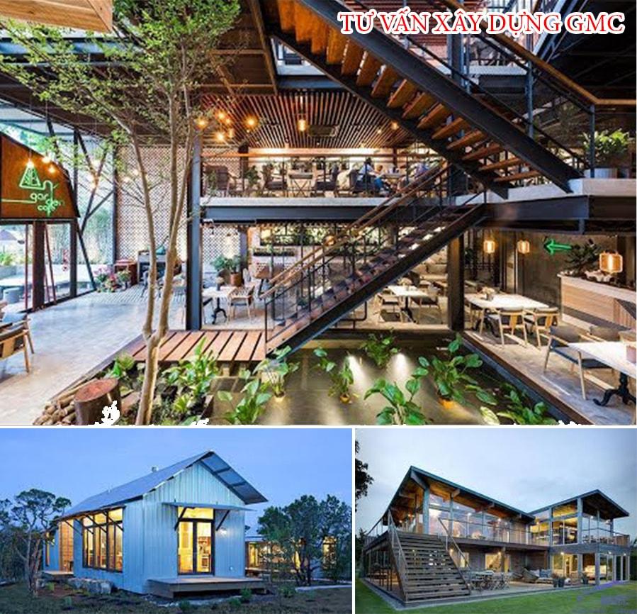 công trình nhà thép tiền chế cho các quán cà phê, nhà hàng, dân dụng, nhà xưởng
