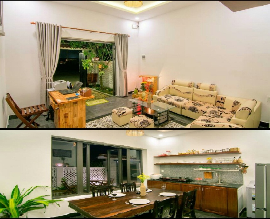 Không gian phòng khách, phòng bếp