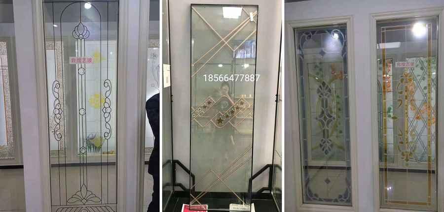 Cửa nhôm kính hộp có họa tiết hoa văn