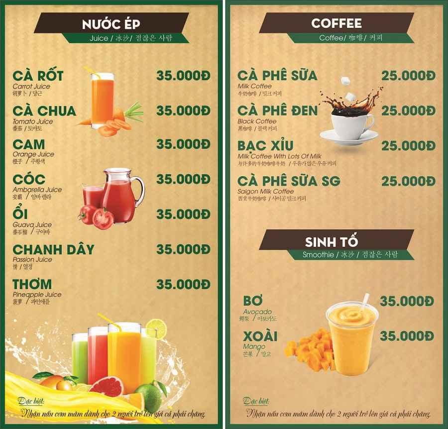 Nhà hàng Cà phê Trà sữa món ngon 3 Miền