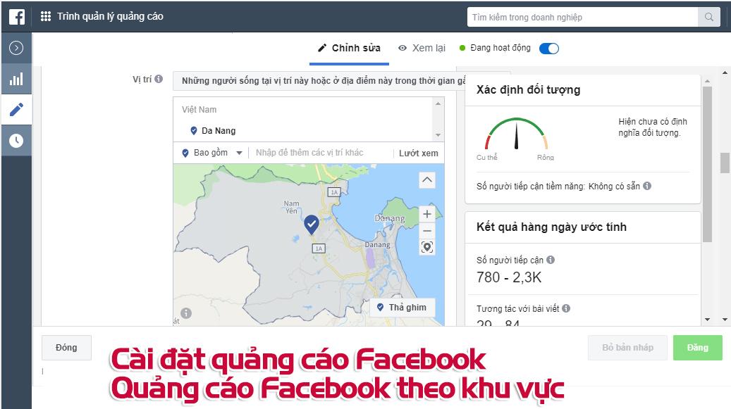 Quảng cáo Facebook theo khu vực