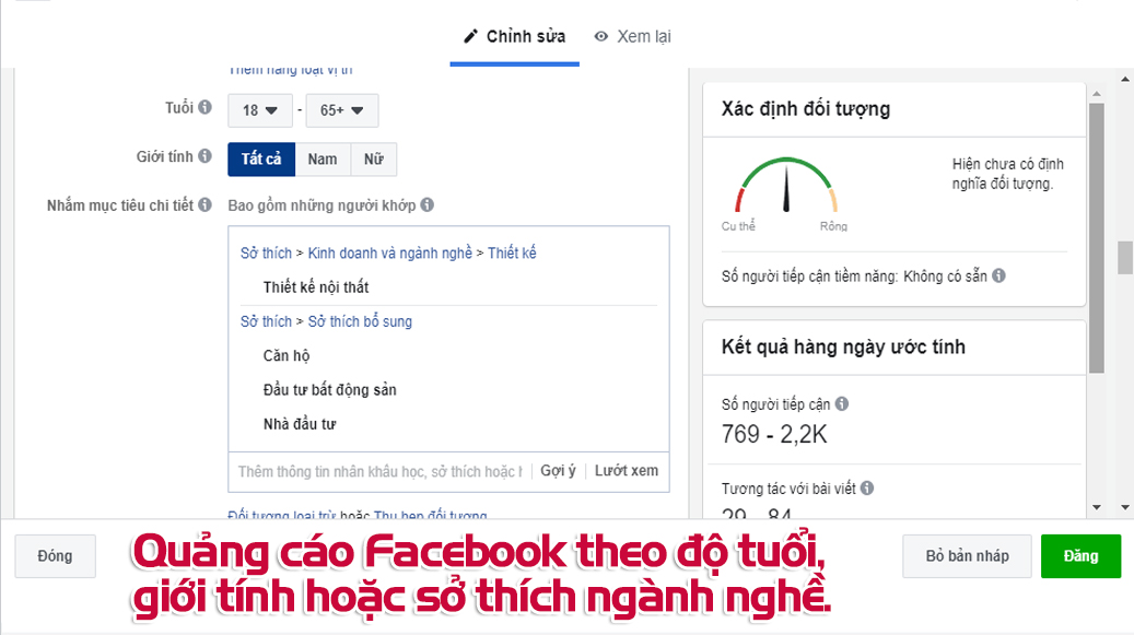 Quảng cáo Facebook theo độ tuổi, giới tính hoặc sở thích ngành nghề.