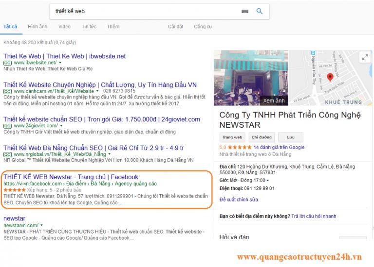 Một kết quả FanPage trên Google - không phải trả tiền