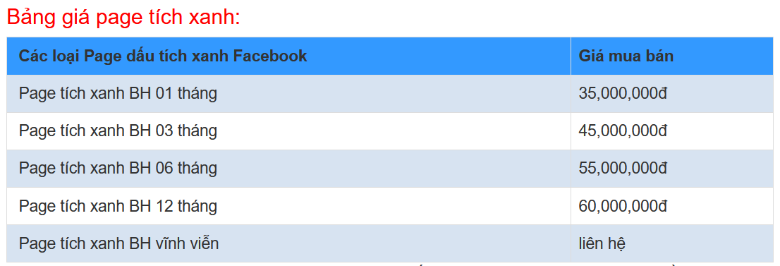 Giá bán page tích xanh Facebook 2020