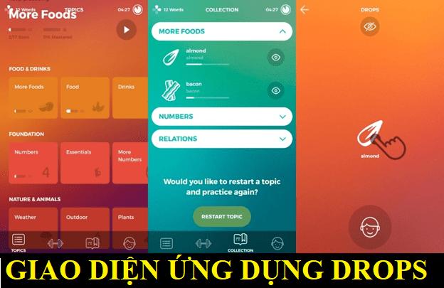 Giao diện ứng dụng Drops