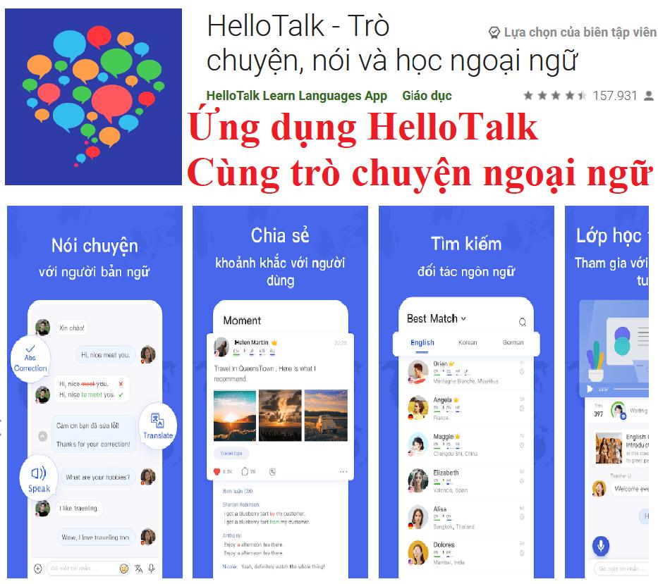 Ứng dụng HelloTalk - trò chuyện ngoại ngữ