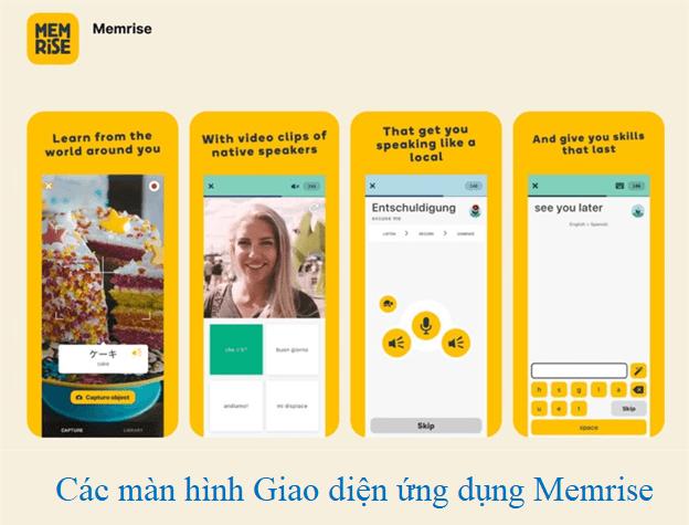 Giao diện các màn hình ứng dụng Memrise