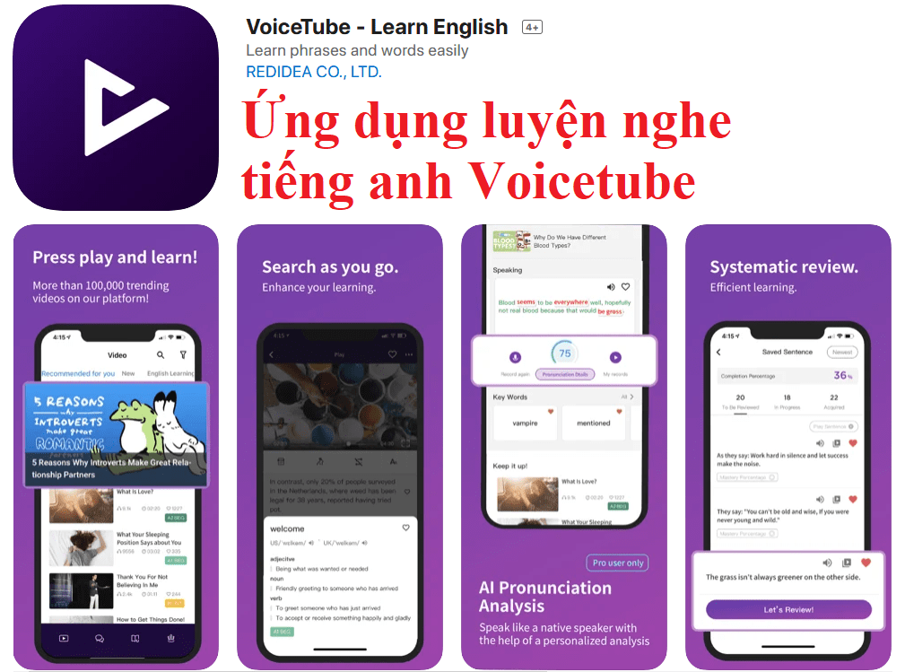 Ứng dụng luyện nghe tiếng anh Voicetube