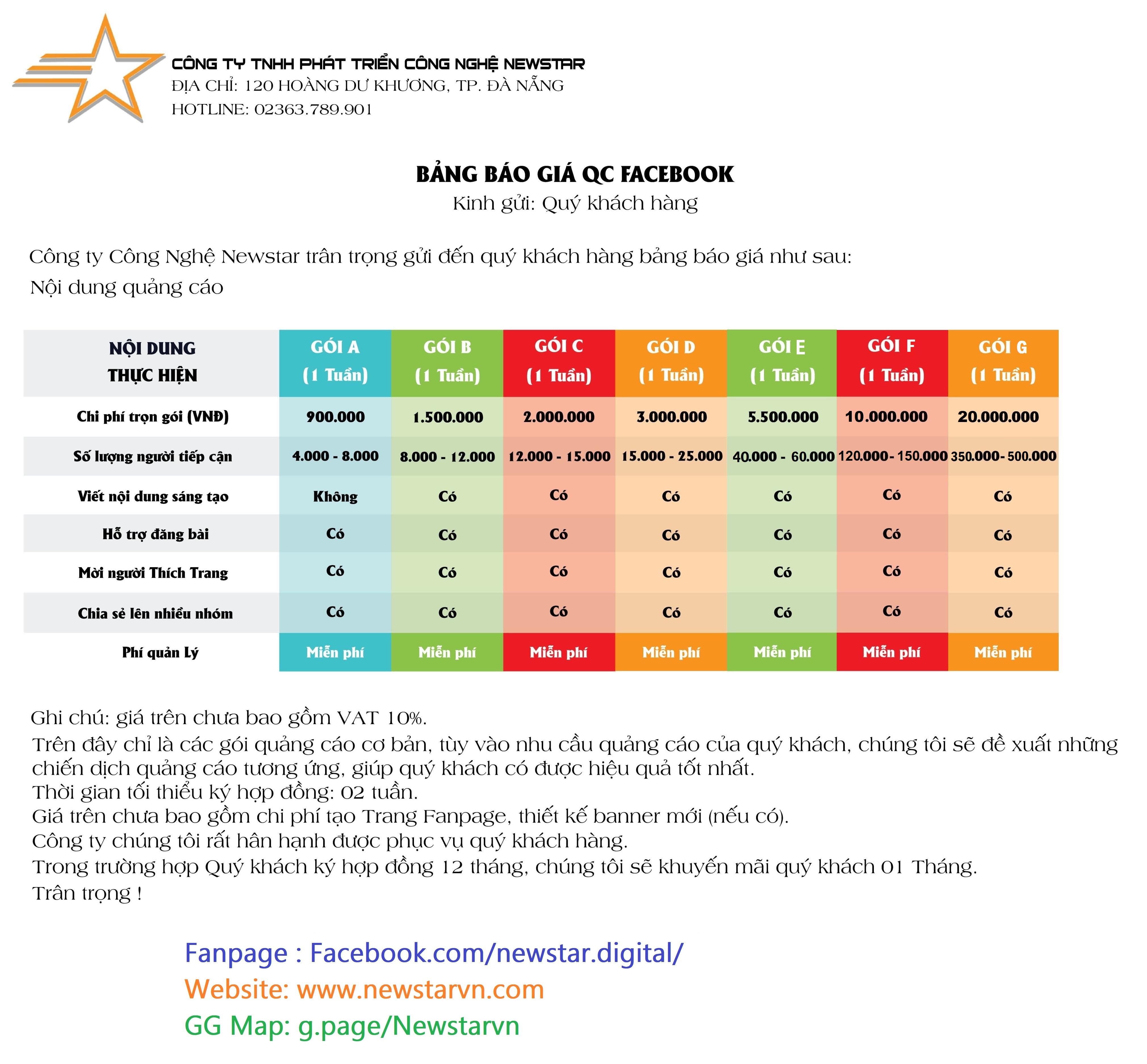 Bảng giá dịch vụ quảng cáo Facebook