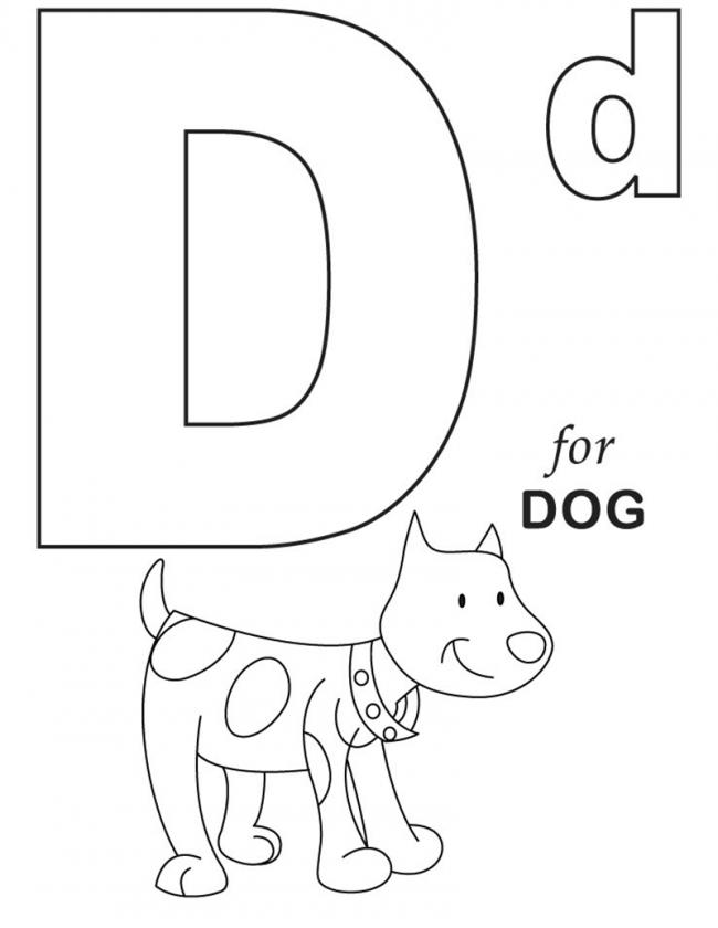Hình tô màu cho bé - chữ D