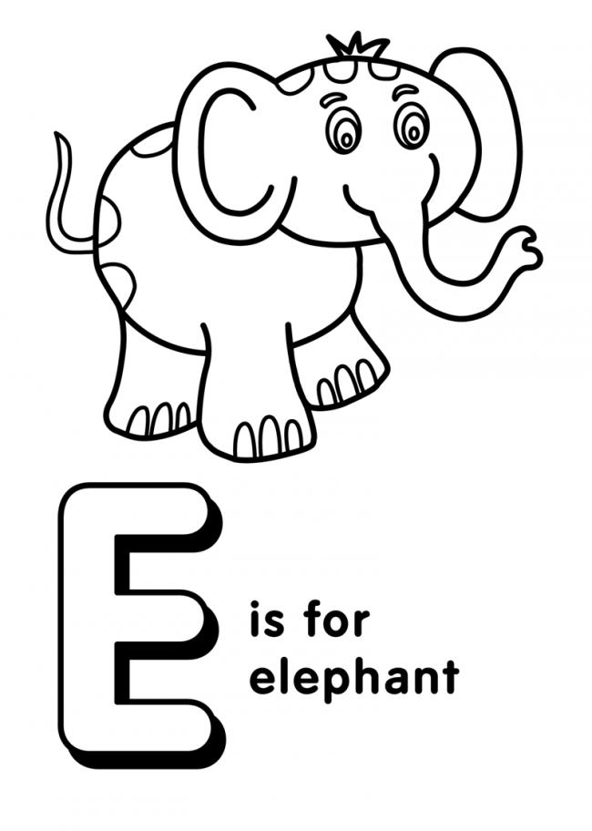 Hình tô màu cho bé - chữ E