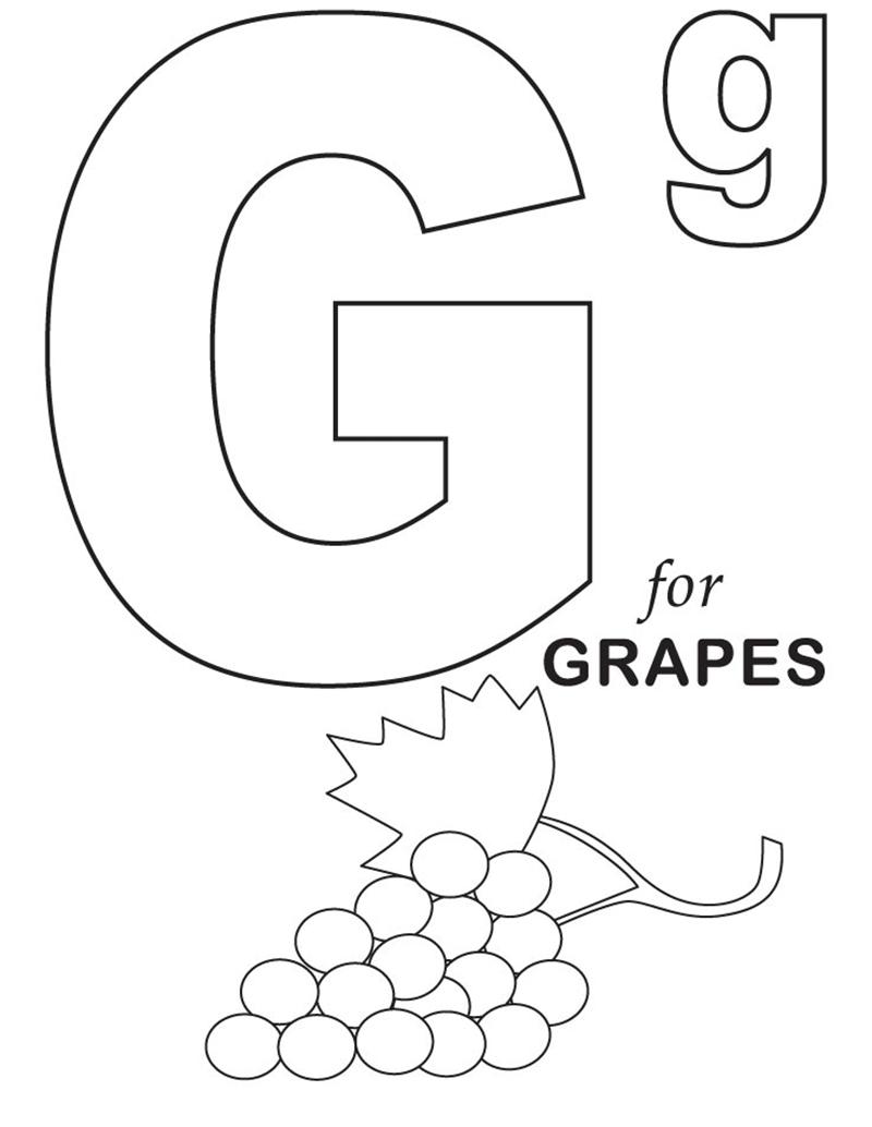 Hình tô màu cho bé - chữ G