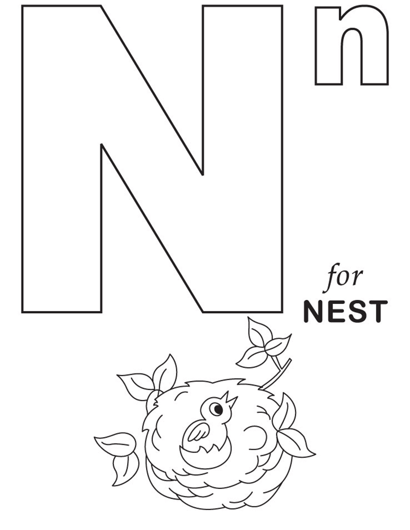 Hình tô màu cho bé - chữ N