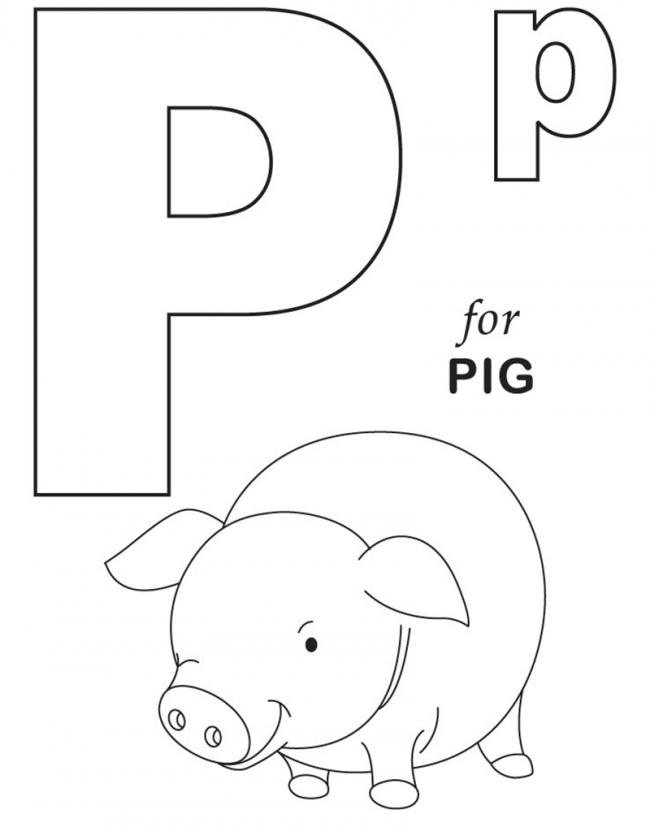 Hình tô màu cho bé - chữ P