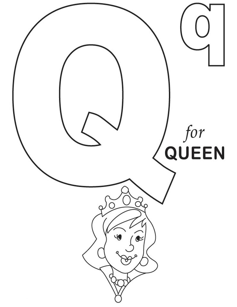 Hình tô màu cho bé - chữ Q