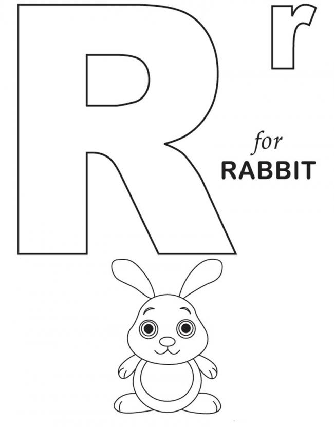 Hình tô màu cho bé - chữ R