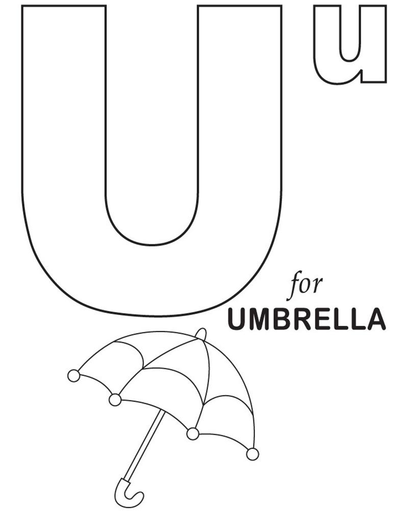 Hình tô màu cho bé - chữ U