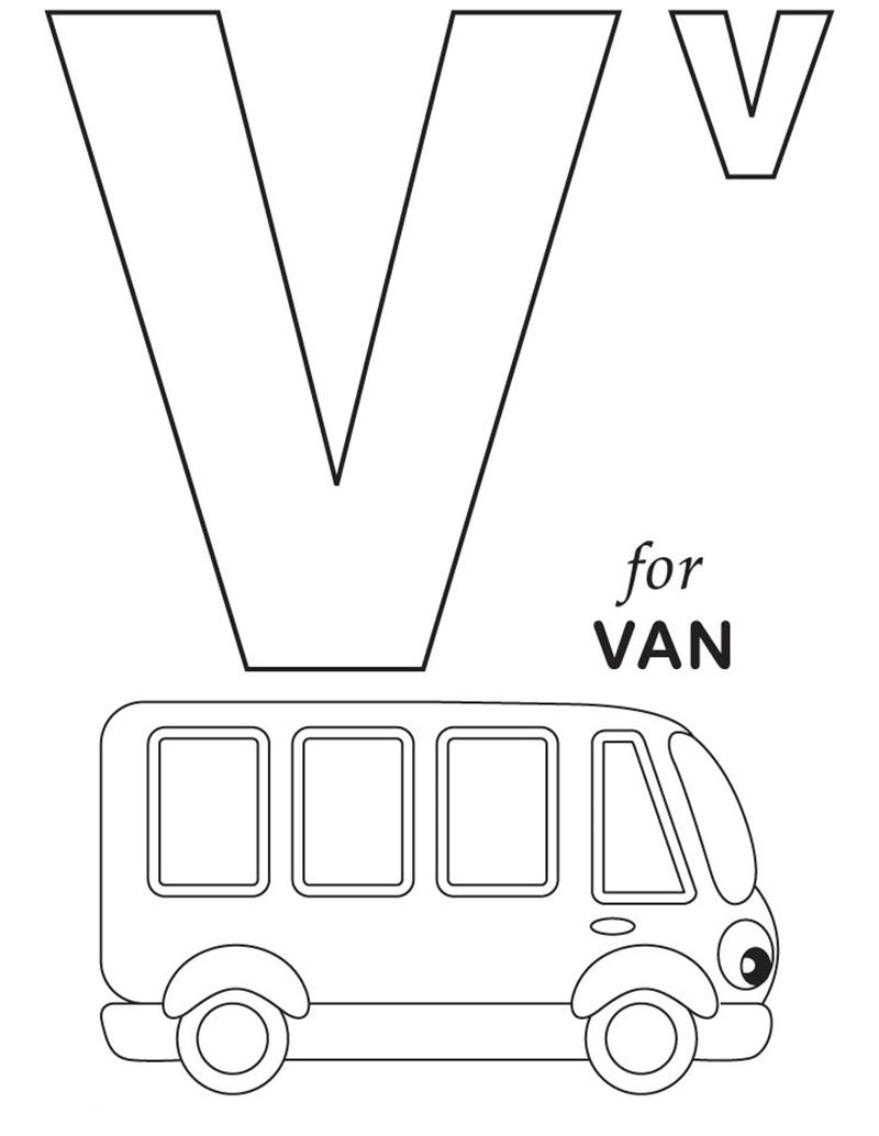 Hình tô màu cho bé - chữ V
