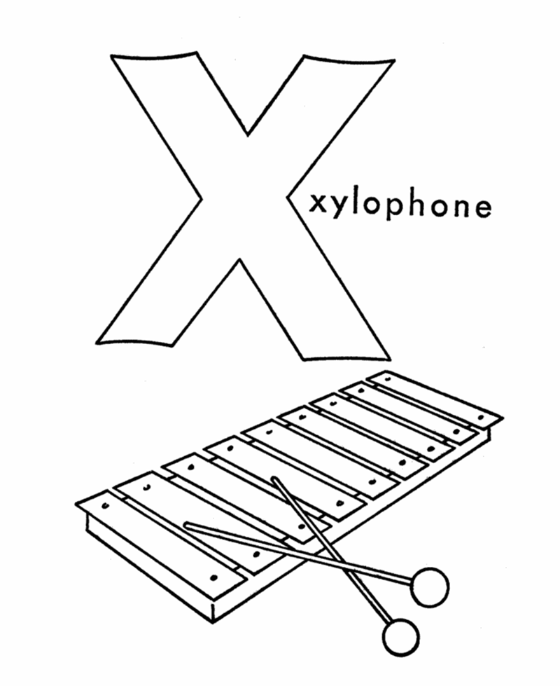 Hình tô màu cho bé - chữ X